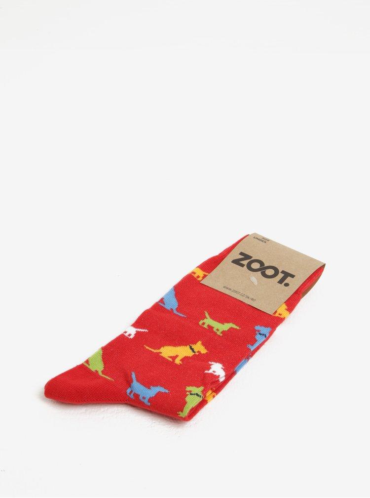 Červené dámske ponožky s motívom psov ZOOT