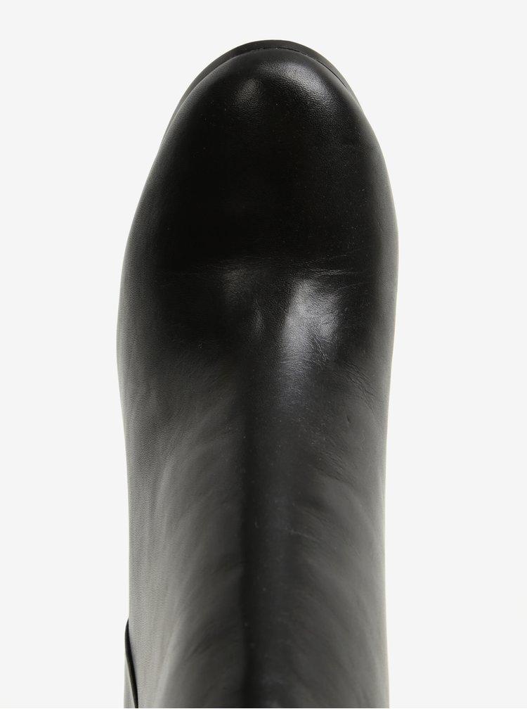 Černé dámské kožené kotníkové boty na podpatku ALDO Jola