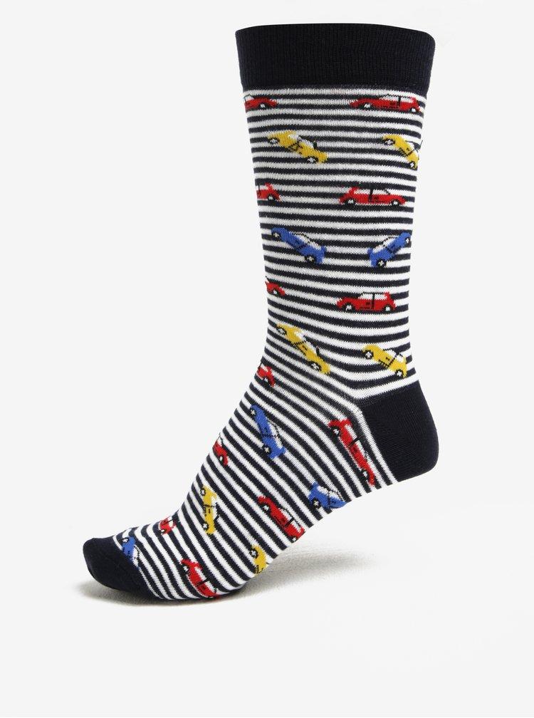 Tmavě modré pánské pruhované ponožky s motivem aut ZOOT