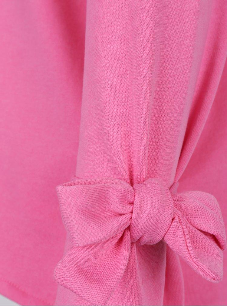 Růžová lehká mikina s mašlemi na rukávech Jacqueline de Yong Brace