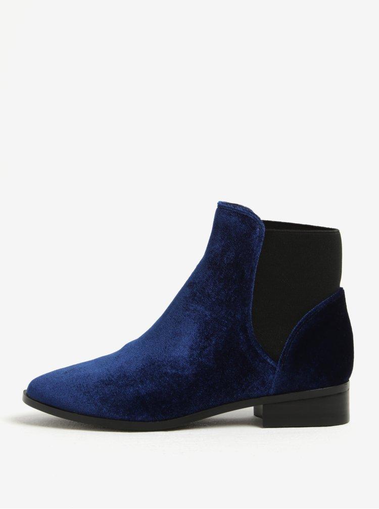 Tmavě modré dámské sametové chelsea boty ALDO Nydia