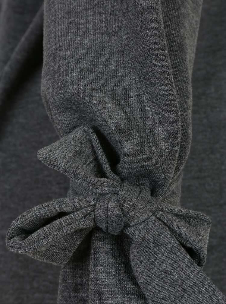Tmavě šedá lehká žíhaná mikina s mašlemi na rukávech Jacqueline de Yong Brace
