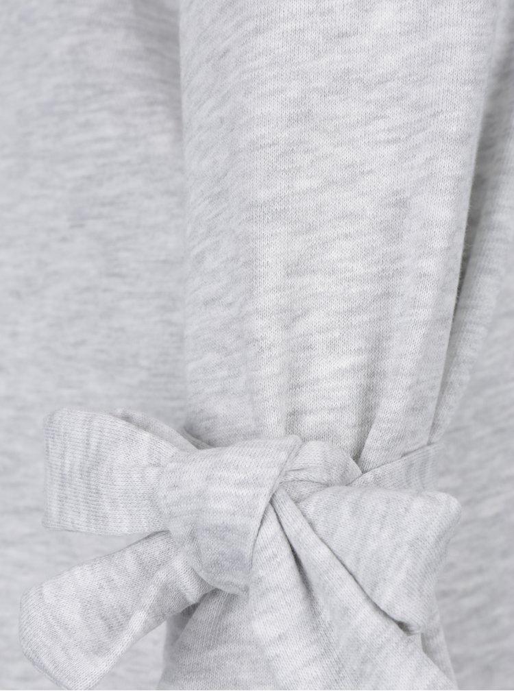 Světle šedá lehká žíhaná mikina s mašlemi na rukávech Jacqueline de Yong Brace