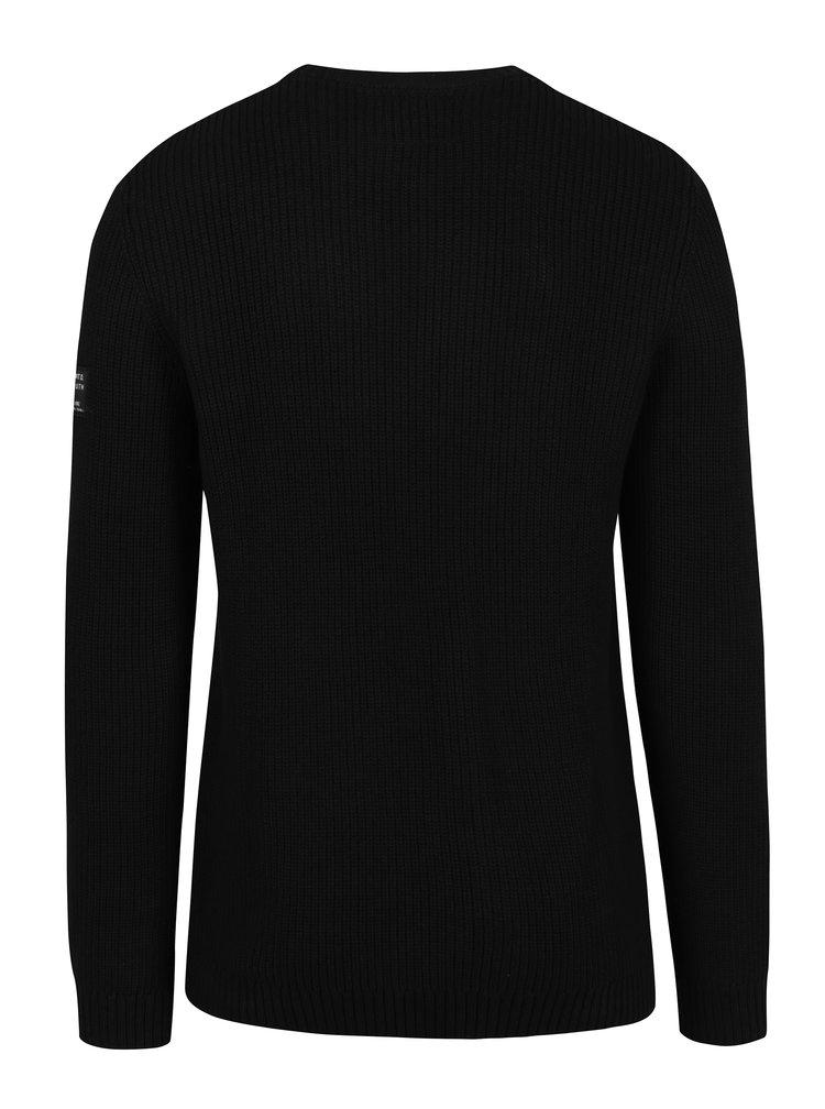Černý žebrovaný svetr Jack & Jones Ethan