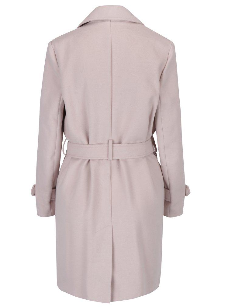 Starorůžový kabát se zavazováním v pase Miss Selfridge Petites