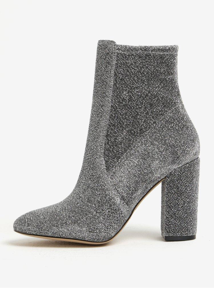 Dámské třpytivé kotníkové boty ve stříbrné barvě ALDO Aurella