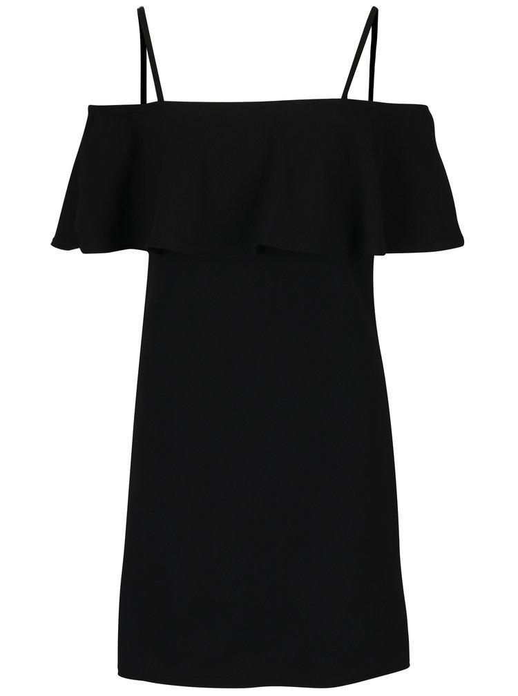 Černé šaty s odhalenými rameny na ramínka MISSGUIDED