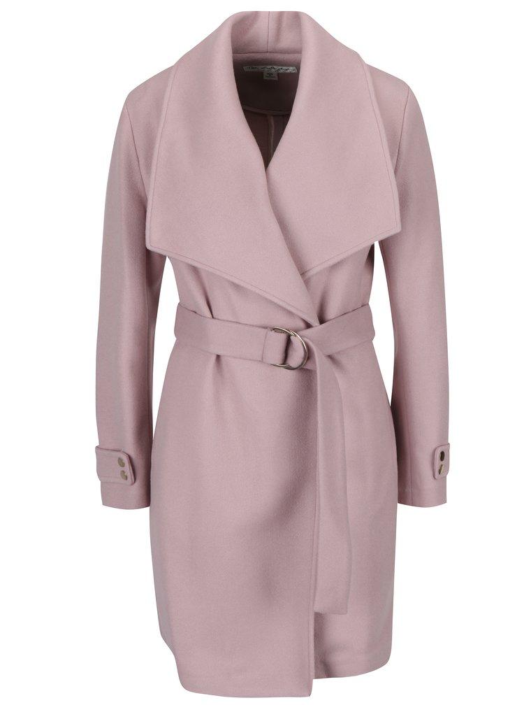 Světle růžový kabát s páskem Miss Selfridge