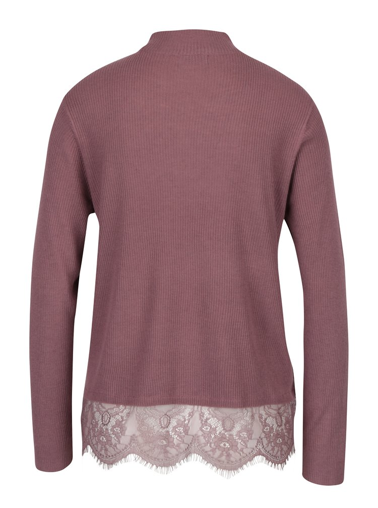 Starorůžový lehký svetr s krajkovým dolním lemem Jacqueline de Yong Victory