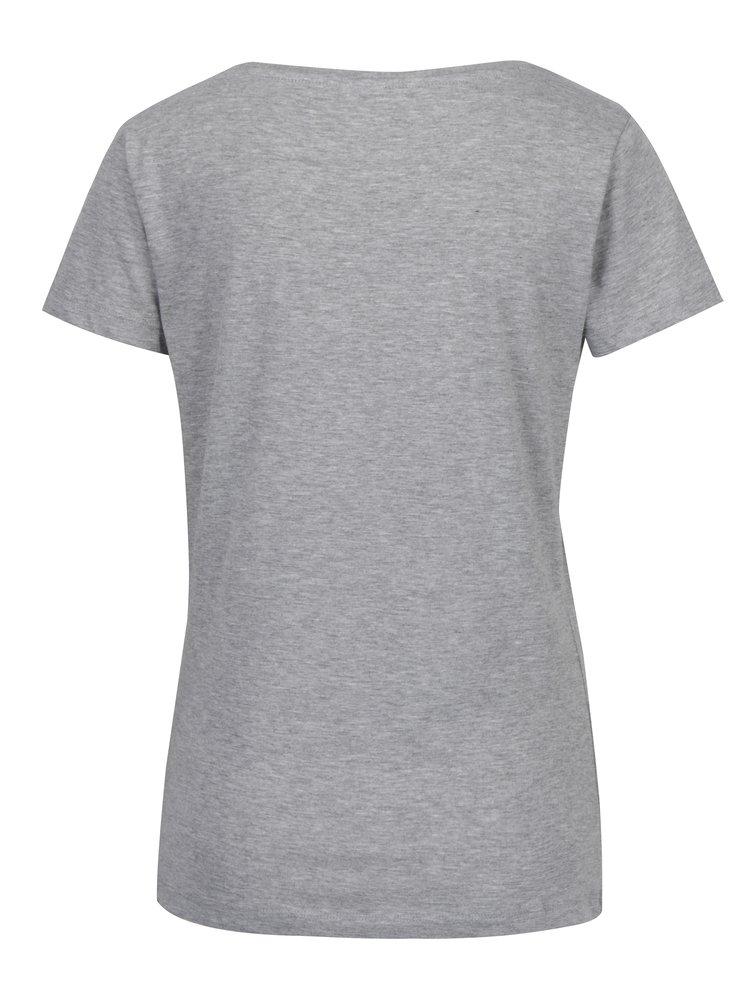 Šedé žíhané tričko s potiskem Jacqueline de Yong Chicago