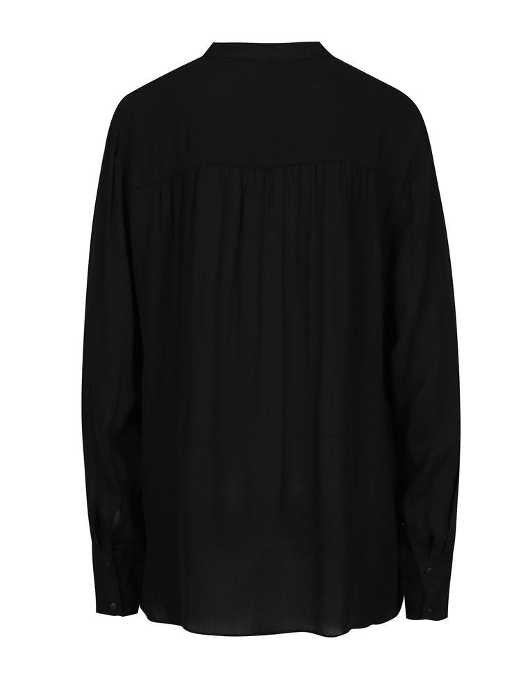 Černá volná halenka s knoflíky Selected Femme Tora