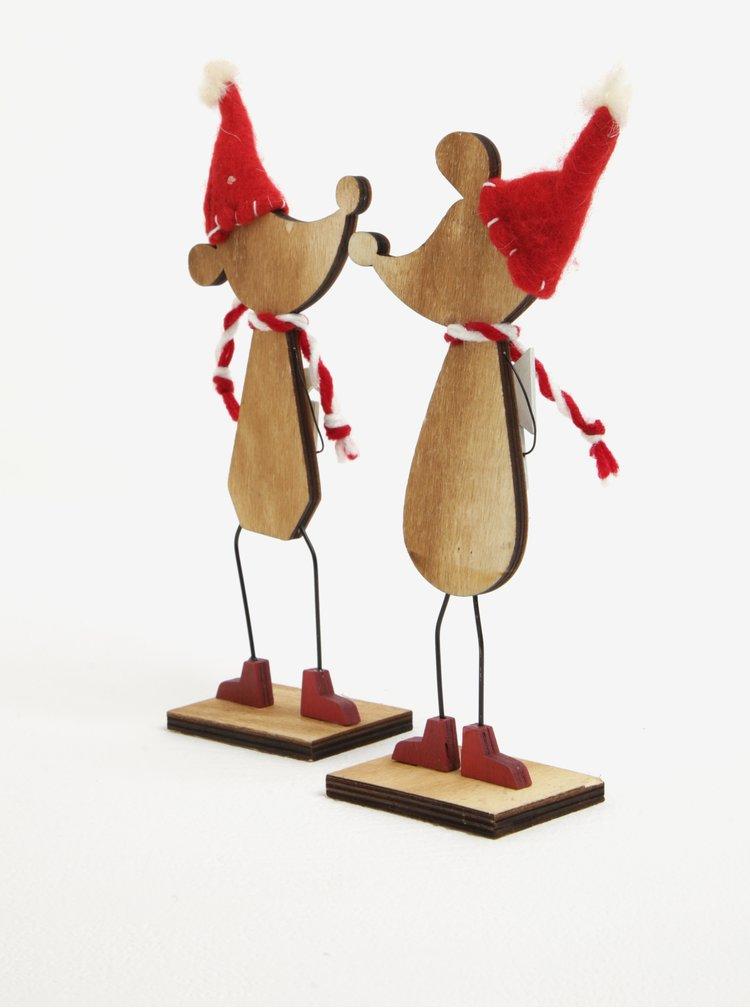 Sada dřevěné dekorace ve tvaru myší Sass & Belle