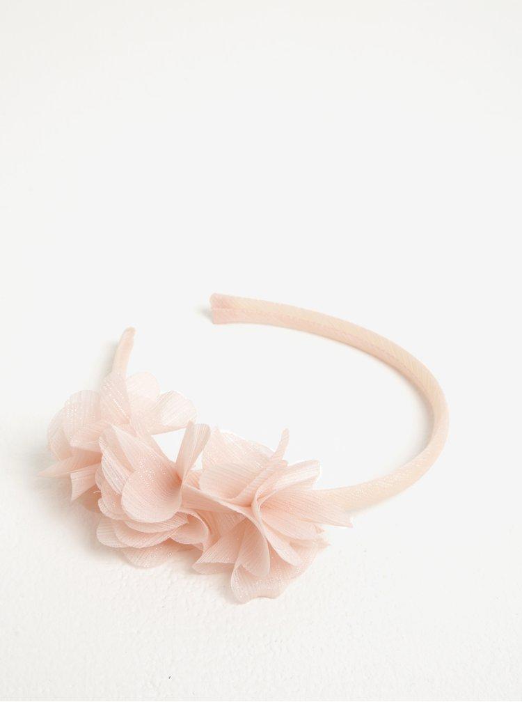 Světle růžová holčičí čelenka s ozdobnými květy name it Elise