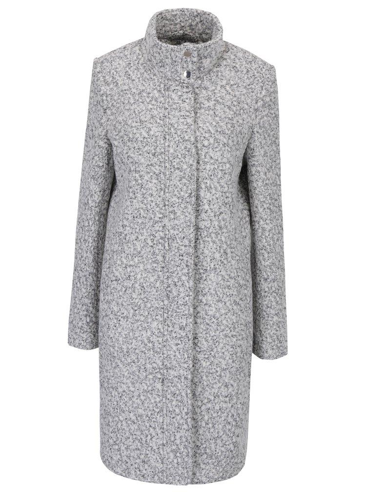 Krémový žíhaný zimní vlněný kabát VILA Fall