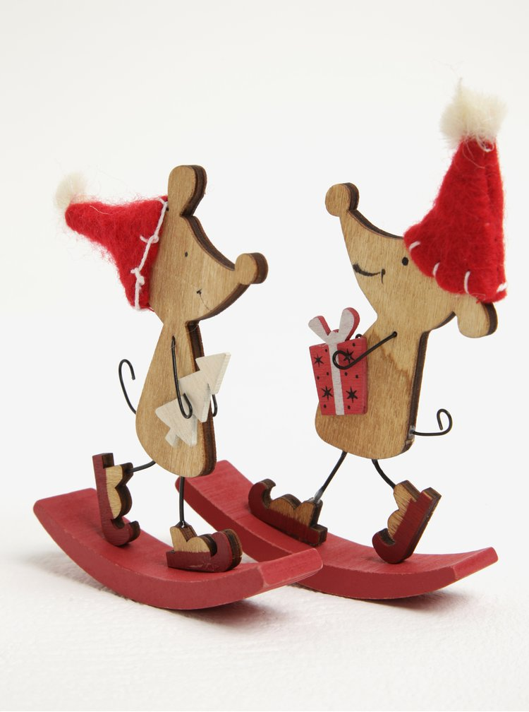 Sada dvou dřevěných dekorací ve tvaru myší Sass & Belle