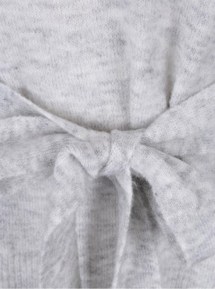 Šedý žíhaný svetr s mašlí a příměsí mohéru VILA Mirum