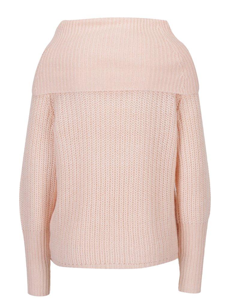 Světle růžový svetr s límcem VILA View