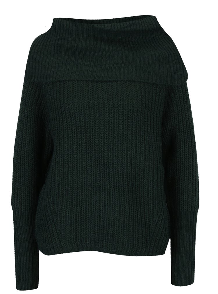 Tmavě zelený svetr s límcem VILA View