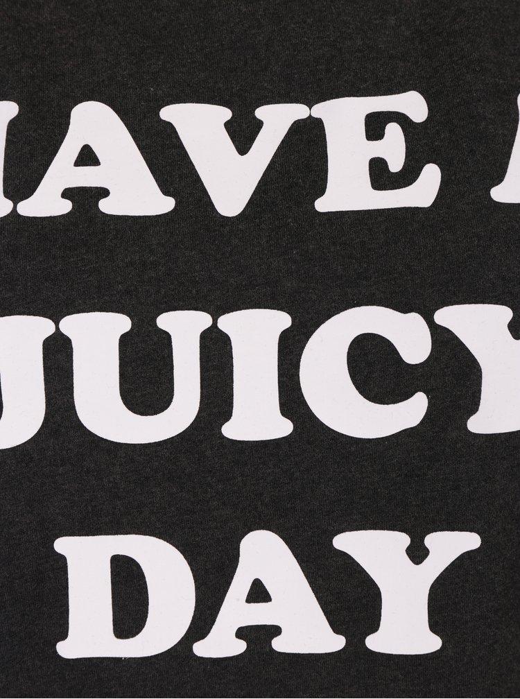 Tricou gri melanj cu mesaj -  Juicy Couture