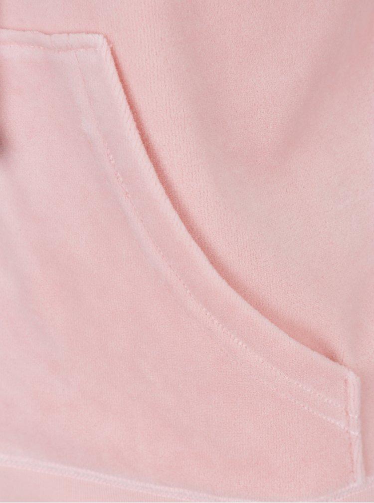Růžová sametová mikina s kapucí Juicy Couture