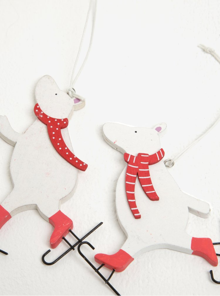 Sada dvou dřevěných přívěsků ve tvaru medvěda v krémové barvě Sass & Belle