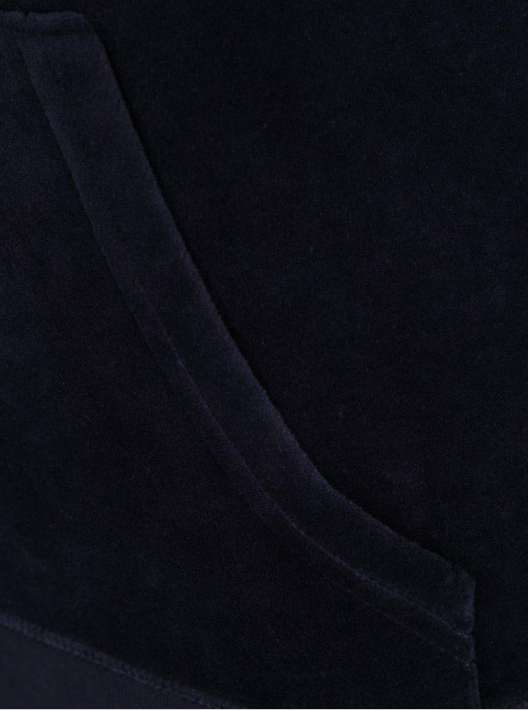 Tmavě modrá sametová mikina s kapucí Juicy Couture