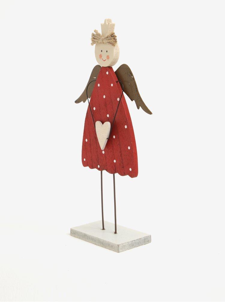 Červená dřevěná dekorace ve tvaru víly s křídly Sass & Belle