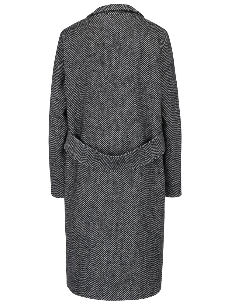 Tmavě šedý vzorovaný kabát s příměsí vlny TALLY WEiJL
