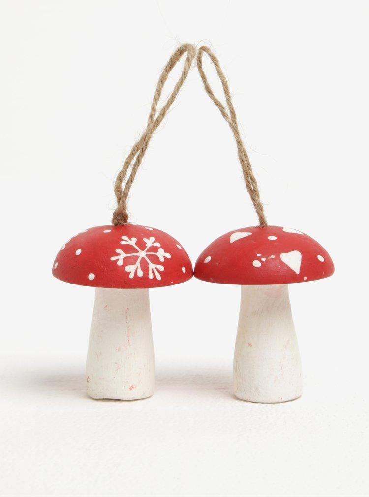 Sada dvou červených ozdob ve tvaru muchomůrky Sass & Belle
