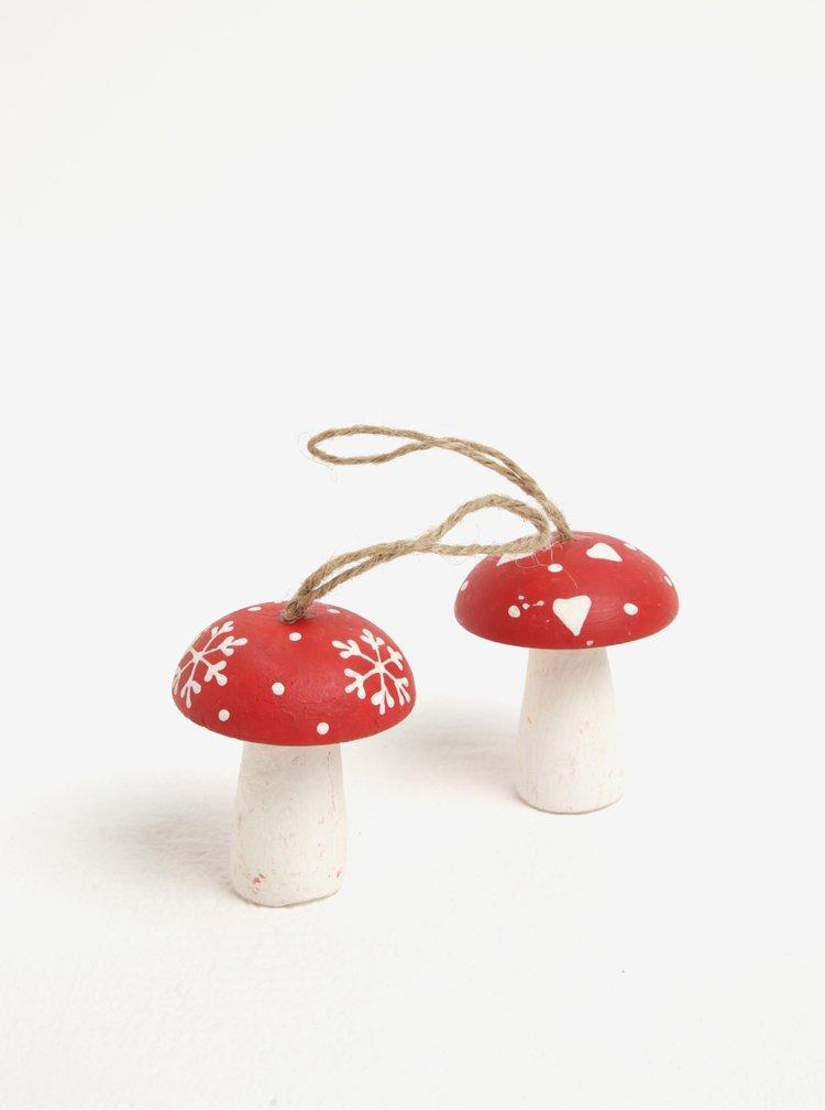 Set de 2 piese ornamentale in forama de ciuperci pentru sarbatori - Sass & Belle