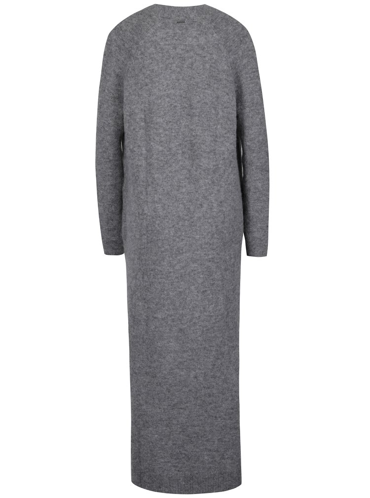 Šedý dámský dlouhý vlněný kardigan Calvin Klein Jeans Sumi