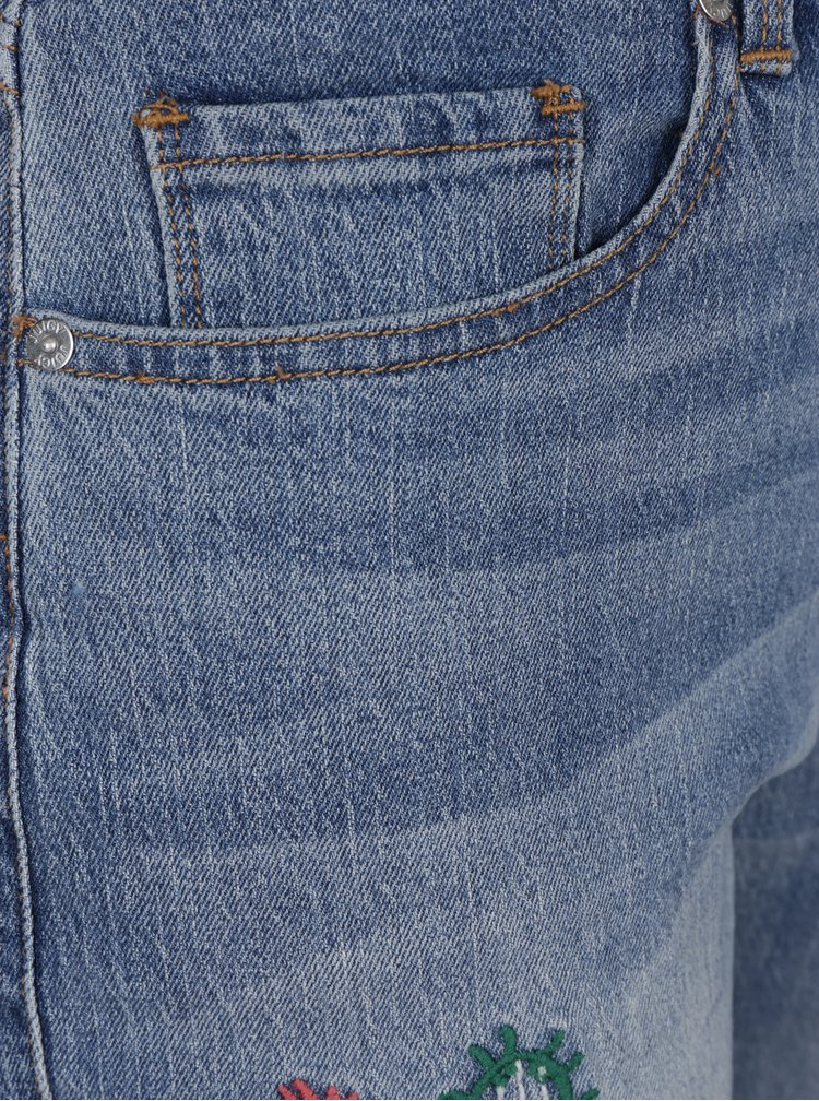 Modré girlfriend džíny s výšivkou a vysokým pasem Juicy Couture