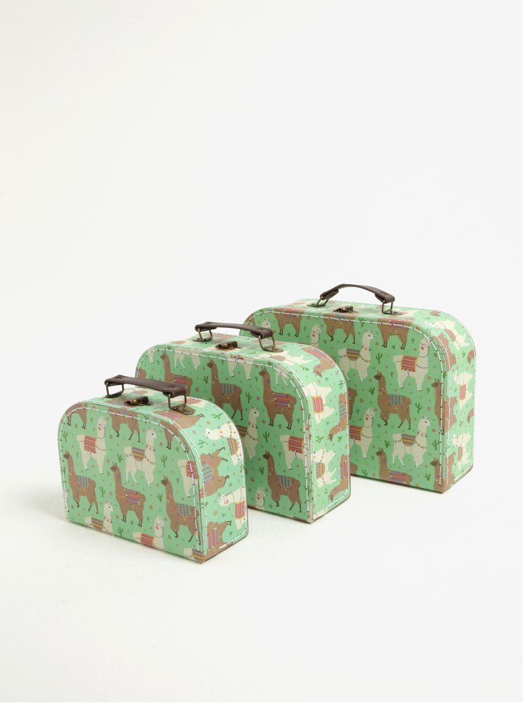 Set de 3 cutii de depozitare verzi cu print - Sass & Belle