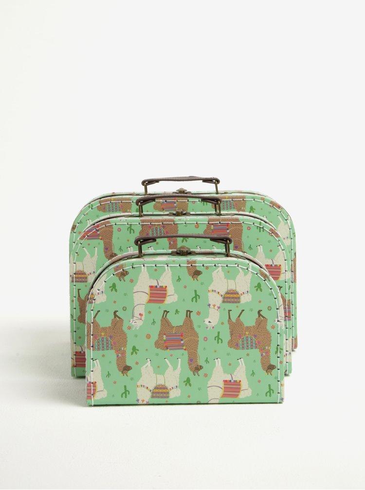 Sada tří kufříků v zelené barvě s motivem lam Sass & Belle