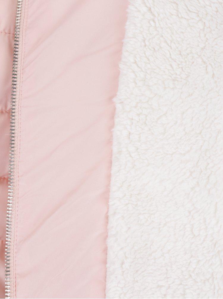 Světle růžová prošívaná bunda s kapucí a umělým kožíškem TALLY WEiJL