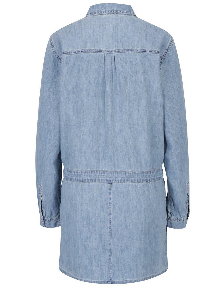 Světle modré košilové šaty s výšivkou Juicy Couture