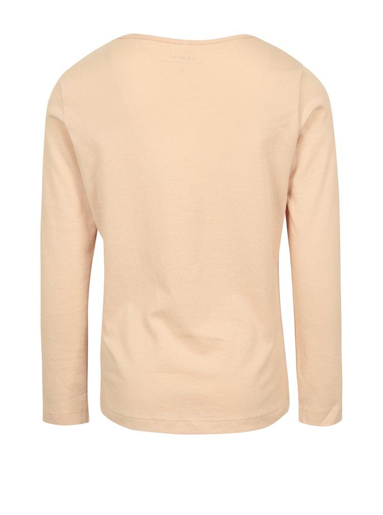 Světle růžové holčičí tričko s potiskem name it Ilse