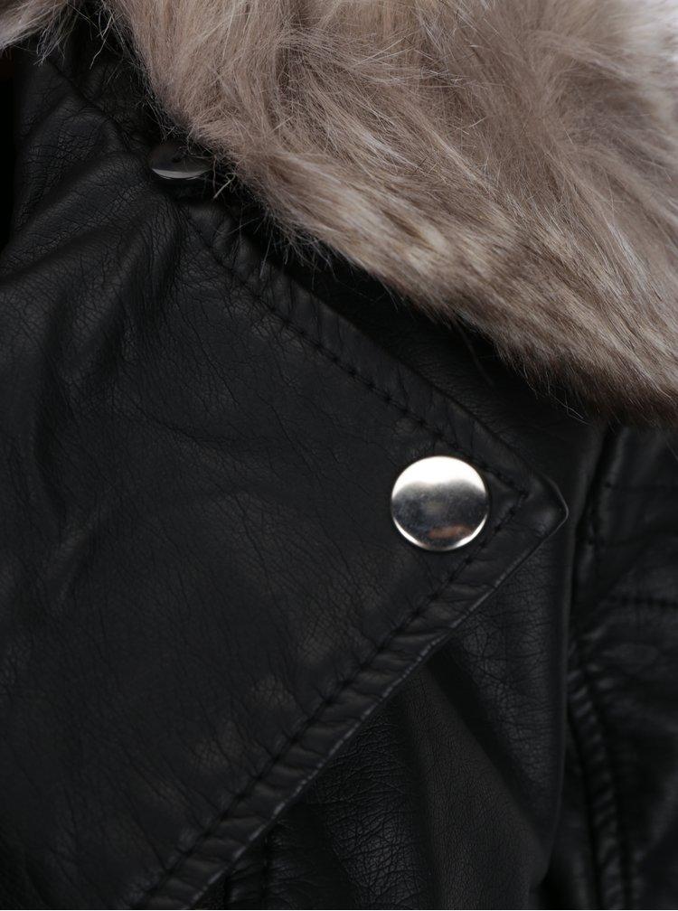 Jacheta biker neagra din piele ecologica cu guler detasabil din blana artificiala - TALLY WEiJL