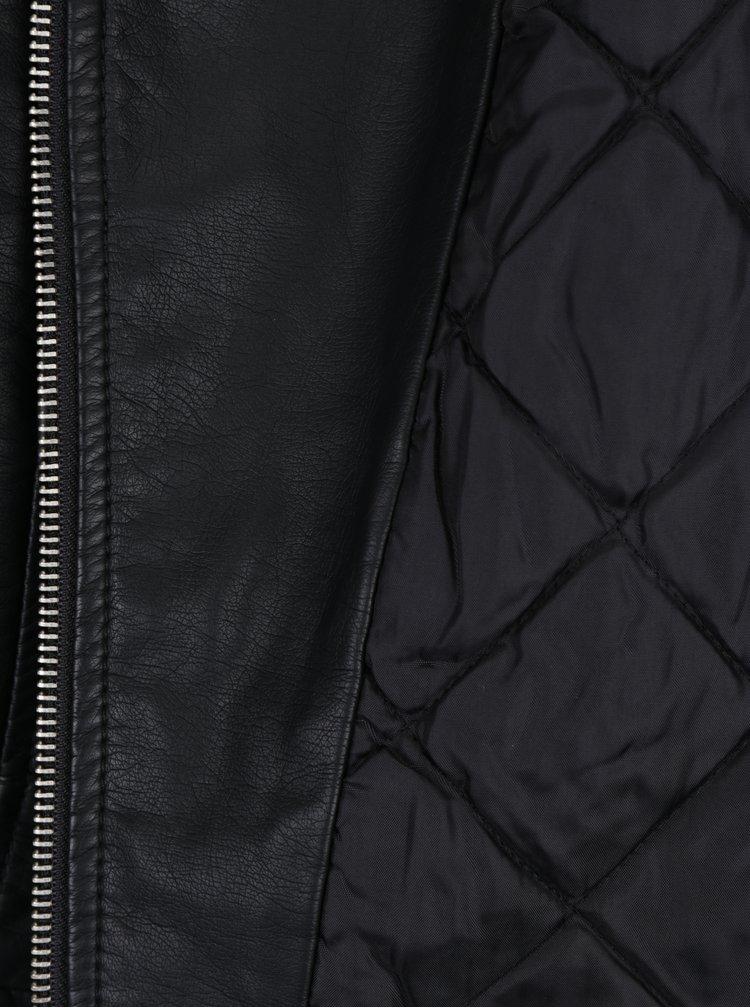 Černý koženkový křivák s umělým kožíškem TALLY WEiJL