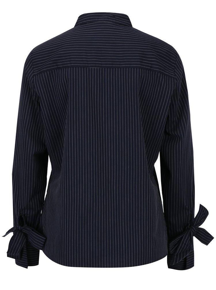 Tmavě modrá pruhovaná košile s mašlemi na rukávech Jacqueline de Yong Taylor