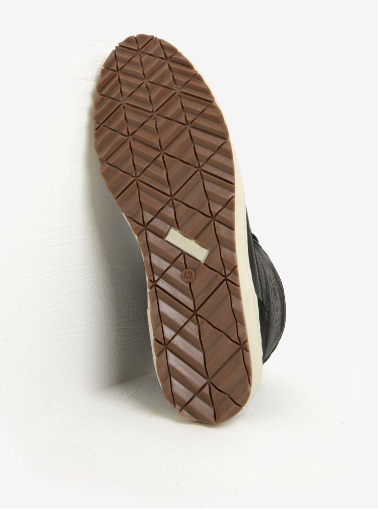 Šedo-černé pánské kožené kotníkové zimní boty Bullboxer