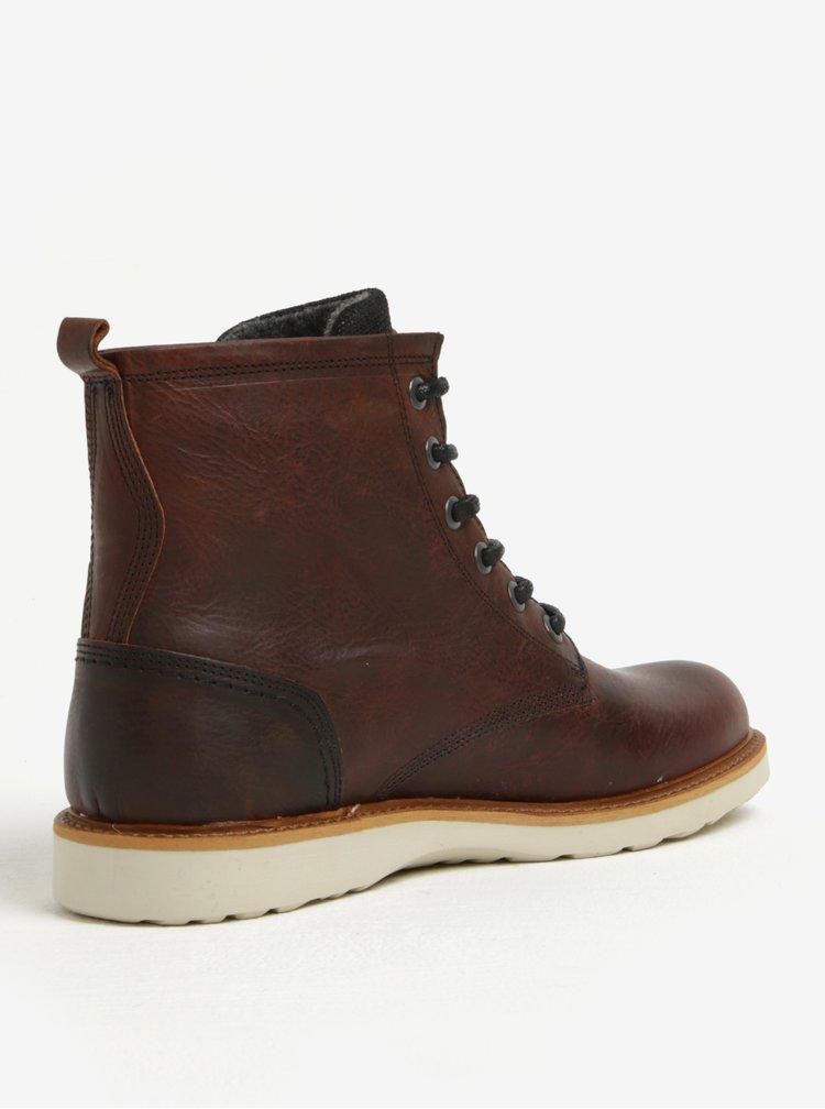 Hnědé pánské žíhané kožené kotníkové zimní boty Bullboxer