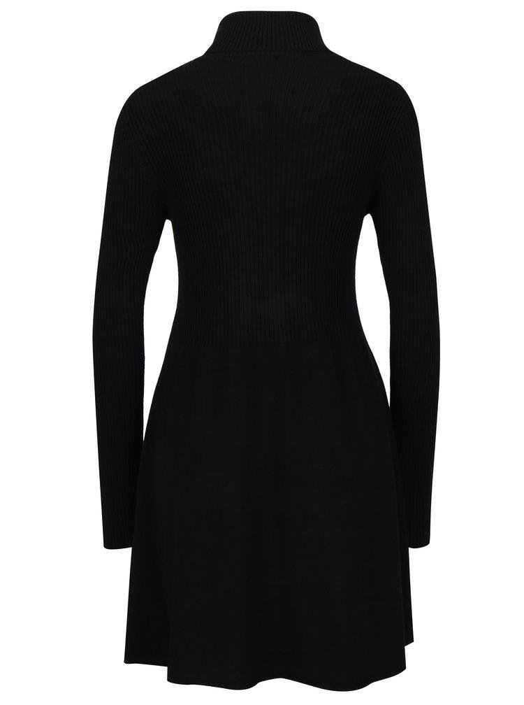 Rochie pulover neagra cu guler inalt ONLY Alma