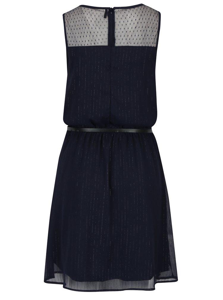 Tmavě modré vzorované šaty s páskem ONLY Lia