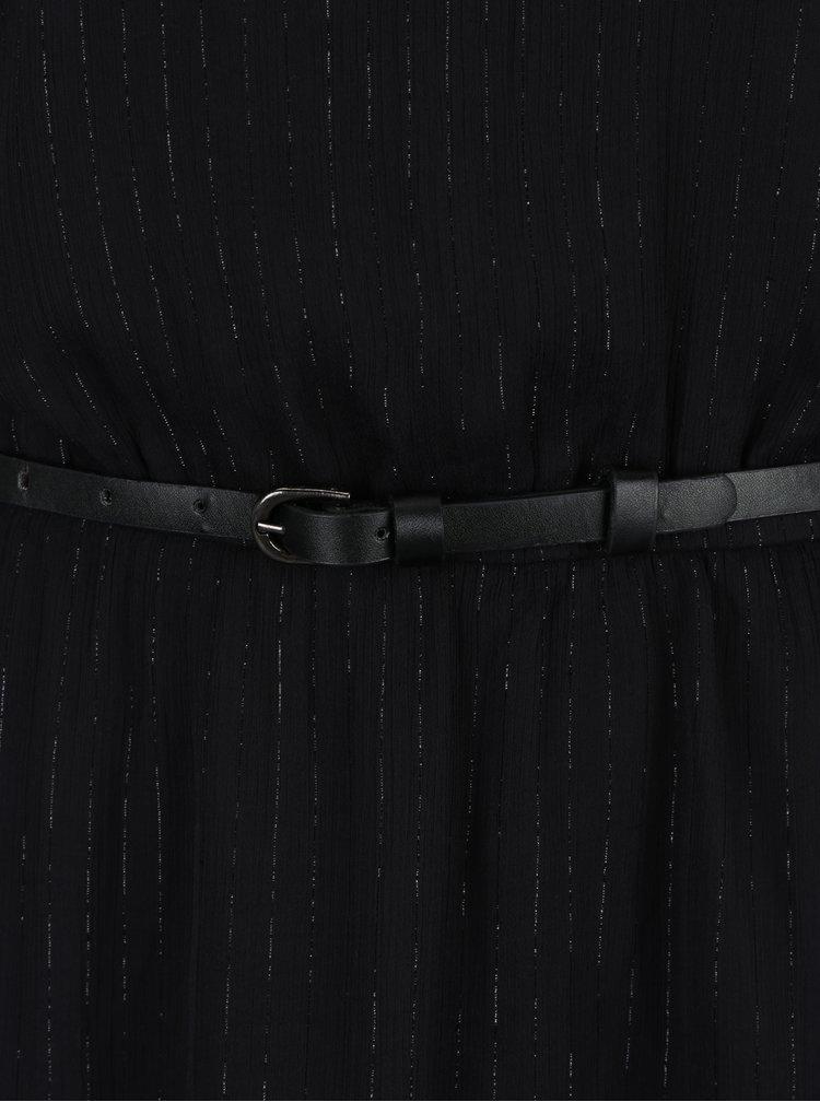 Rochie neagra in dungi cu plasa si fir argintiu ONLY Lia