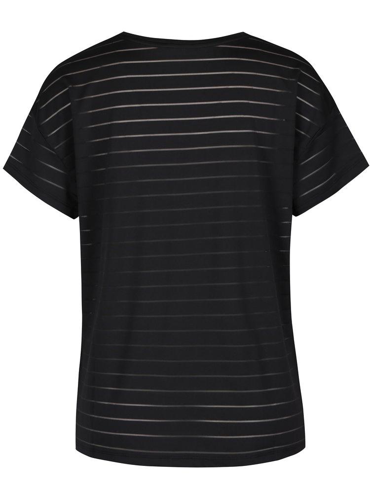Černé dámské tričko s průsvitnými pruhy Calvin Klein Jeans Tumay
