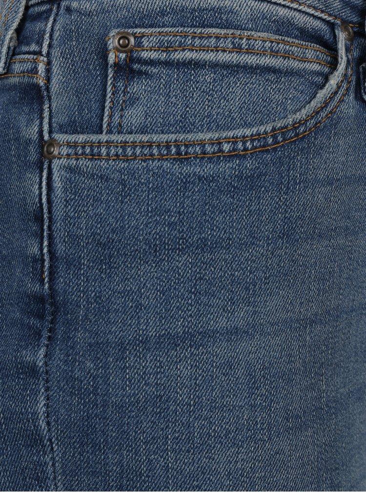 Modré dámské straight džíny se záplatami a vyšisovaným efektem Lee Elly