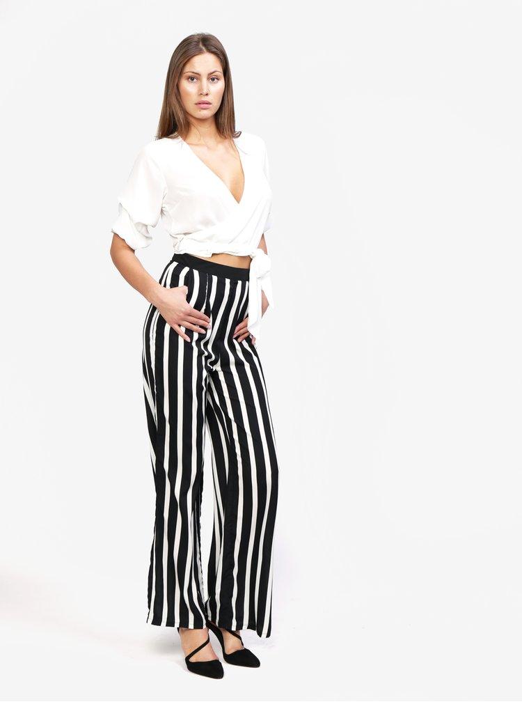 Bílo-černé pruhované volné kalhoty MISSGUIDED