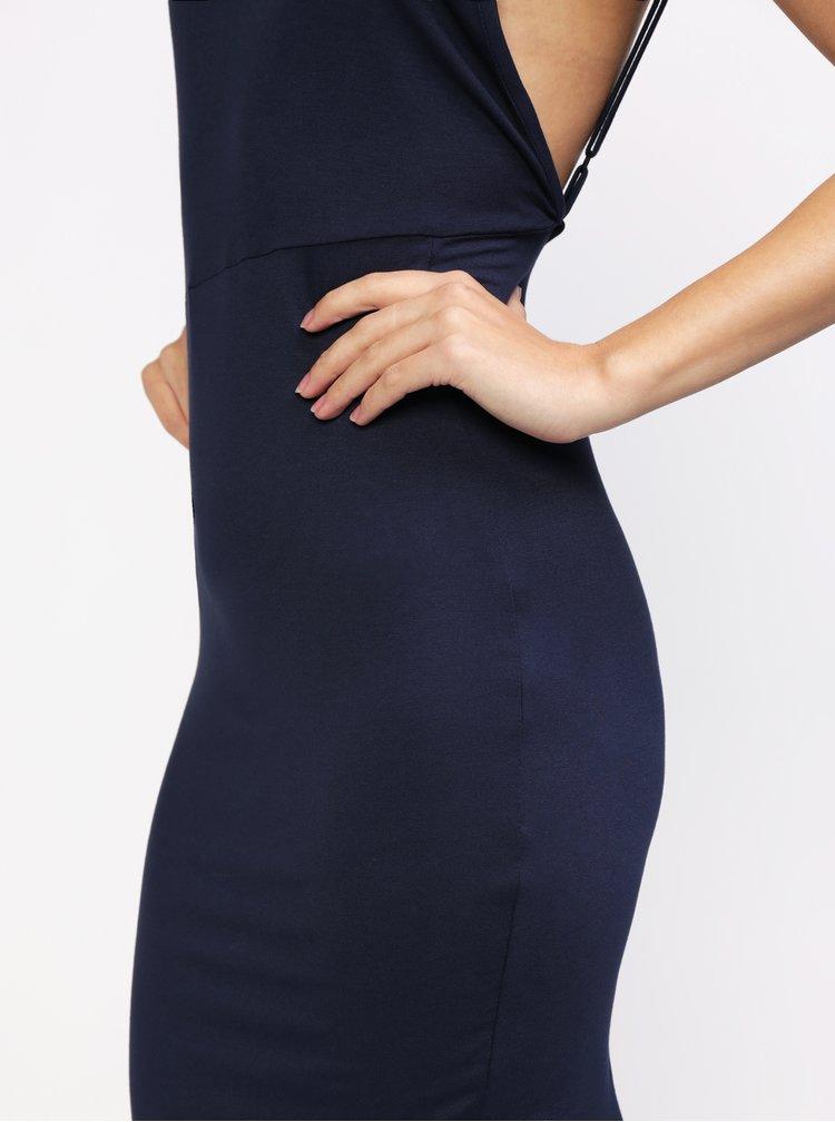 Tmavě modré asymetrické šaty MISSGUIDED