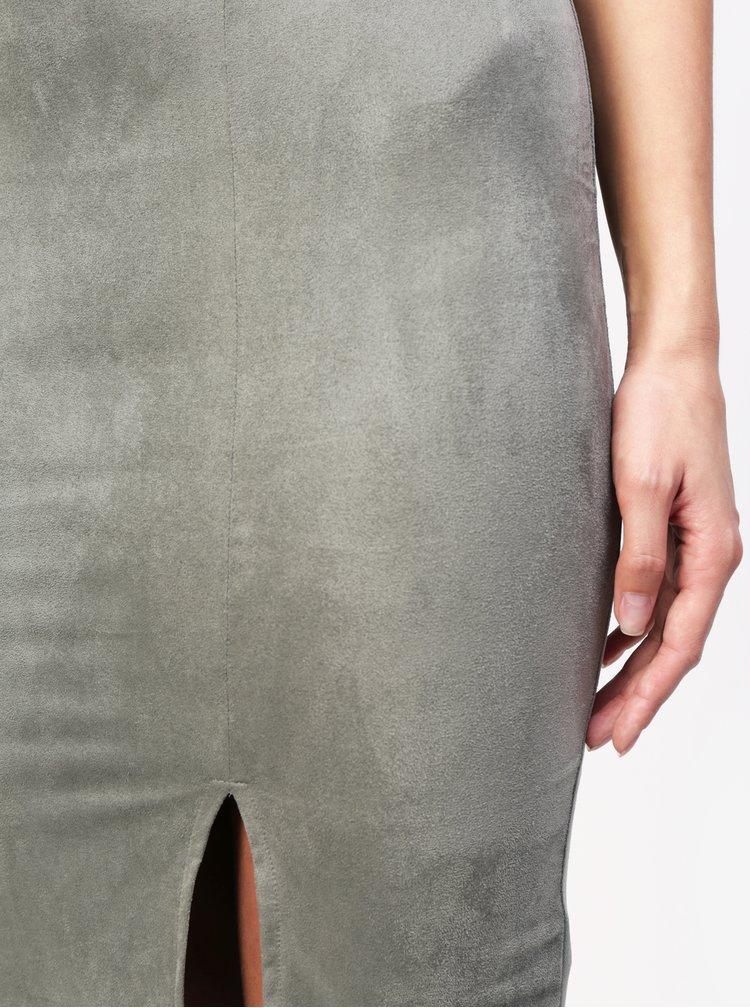Světle zelená sukně v semišové úpravě  MISSGUIDED